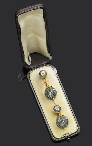 A pair of antique diamond pendent earrings,