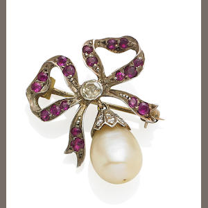 An antique pearl, ruby and diamond brooch/pendant