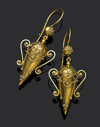 A pair of gold reproduction pendent earrings