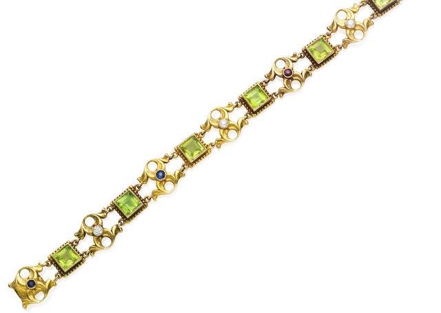 A paste and diamond bracelet,