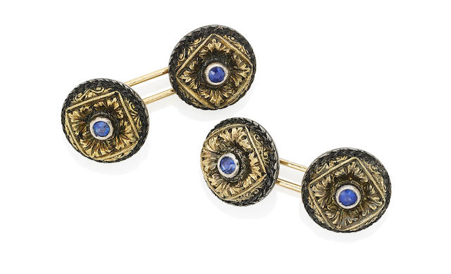 A pair of sapphire cufflinks, by Buccellati