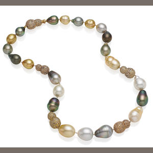 A multi-coloured cultured pearl and coloured diamond necklace