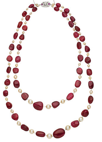 A spinel and cultured pearl necklace