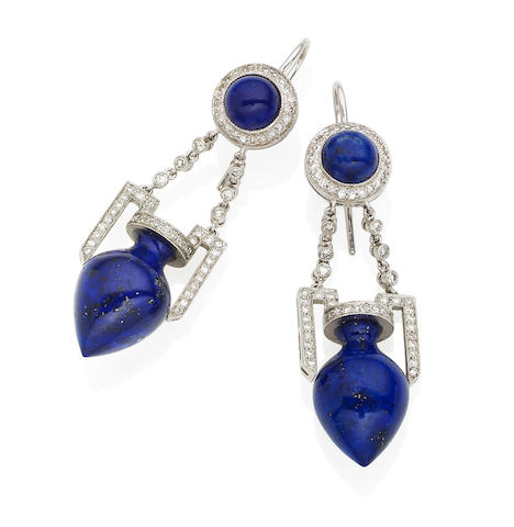 A pair of lapis lazuli and diamond pendent earrings