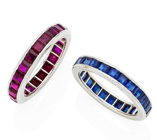 A pair of ruby and sapphire eternity rings,  by Van Cleef & Arpels