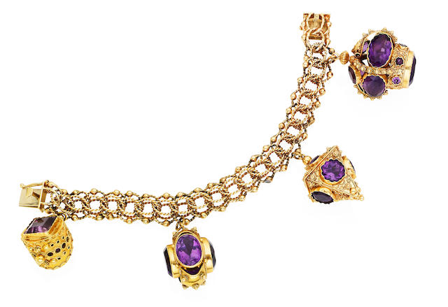 An amethyst charm bracelet