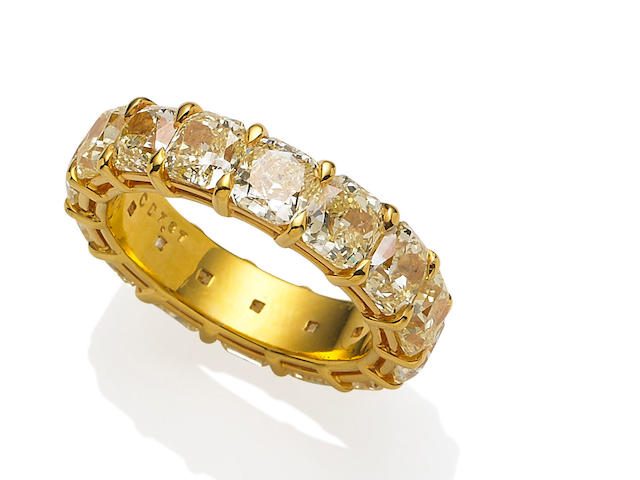 A coloured diamond eternity ring