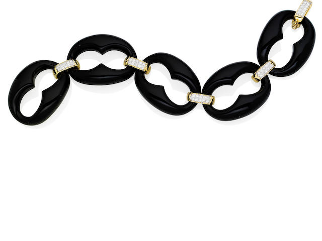 An onyx and diamond bracelet
