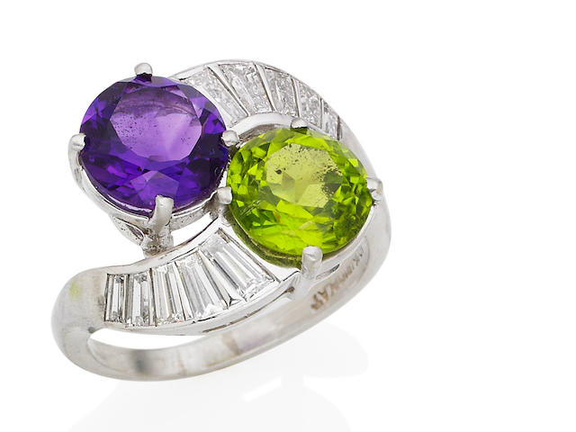 A peridot, amethyst and diamond dress ring
