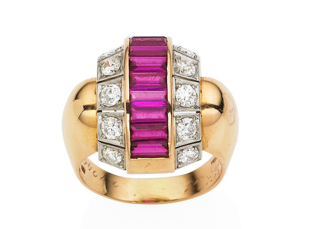 A retro synthetic ruby and diamond ring,