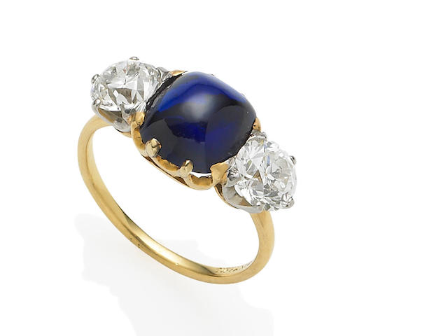 An early 20th century sapphire and diamond ring, by Tiffany & Co.,