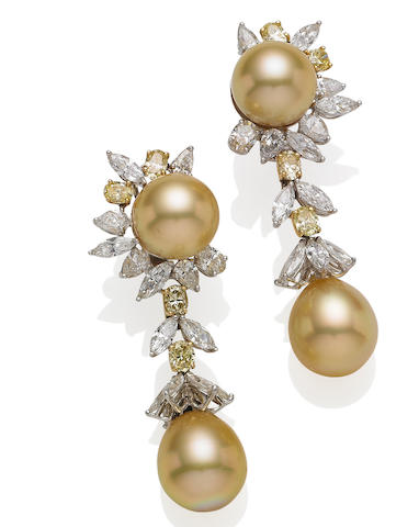 A pair of cultured pearl, coloured diamond and diamond pendent earrings