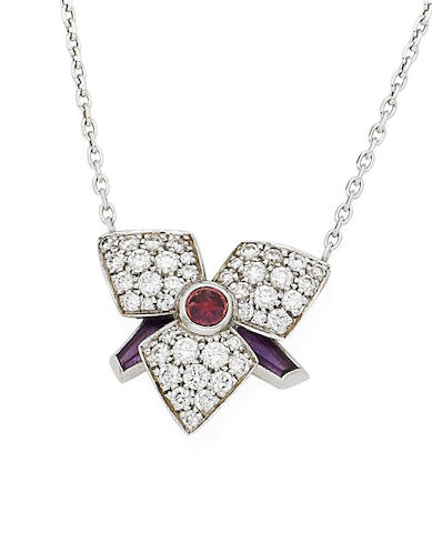 A suite of pink tourmaline, amethyst and diamond 'Blossom' jewellery, by Cartier