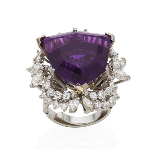 An amethyst and diamond dress ring