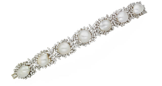 A cultured pearl and diamond bracelet