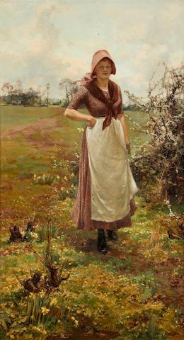 Alfred William Parsons RA, RI, PRWS (British, 1847-1920) A country Lassie