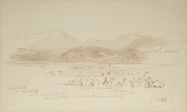 Edward Lear (British, 1812-1888) Gebel Serbal from Wady Selaff