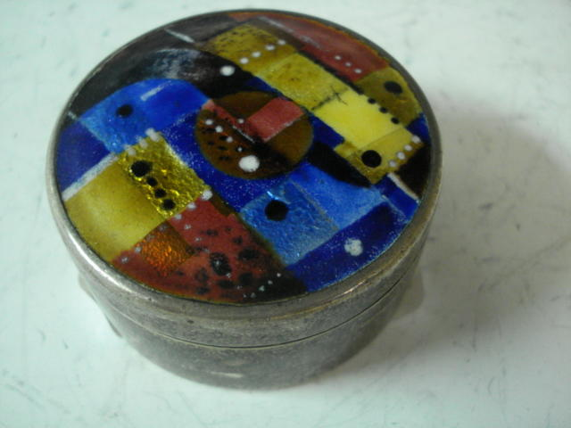 1970s? silver box with bright abstract enamel