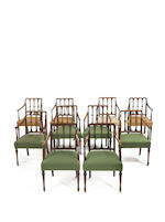 A set of six late George III mahogany open armchairs with four additional late 19th century armchairs in the Hepplewhite style