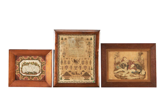 Two 19th century needlework panels together with a sampler