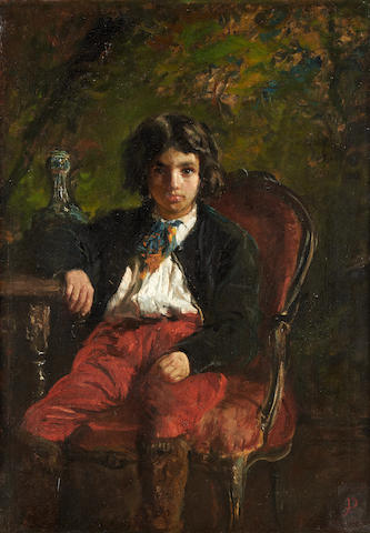 Continental School, late 19th Century Portrait of a boy in red trousers