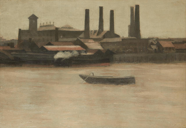 Paul Maitland (British, 1863-1909) Battersea, Mills and Barges 25.5 x 35.5 cm. (10 x 14 in.)