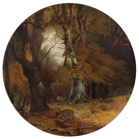 Circle of John Middleton (British, 1828-1856) A woodland scene in circular slip frame