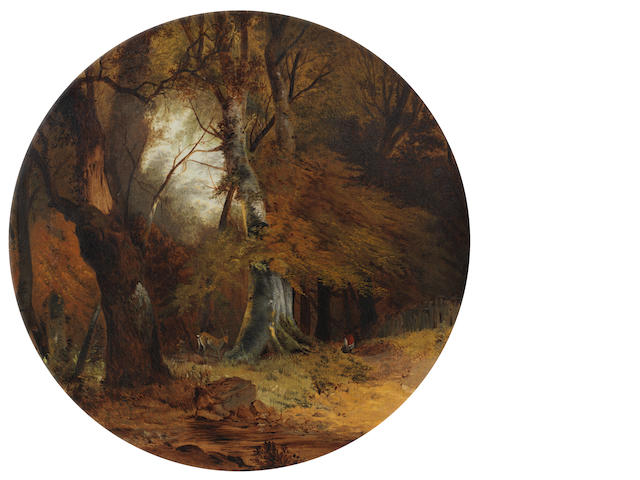 Follower of John Crome (British, 1768-1821) A woodland scene in circular slip frame