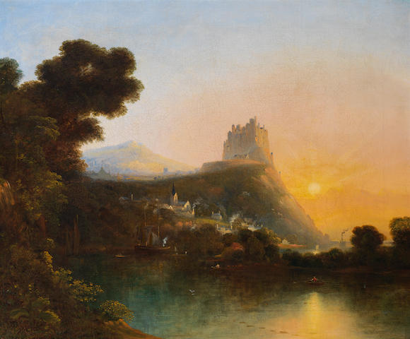 William Henry Crome (British, 1806-1873) A castle above a lake