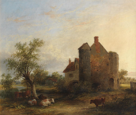 Follower of James Stark (British, 1794-1859) Cattle resting by a manor house