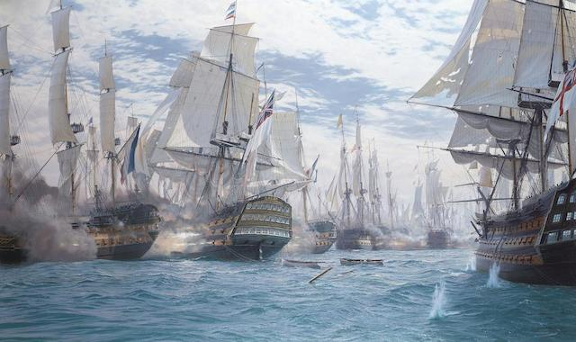 John Steven Dews (British, born 1949) The battle of Trafalgar – H.M.S. Victory breaking the enemy line and raking the stern of the French flagship as she goes through
