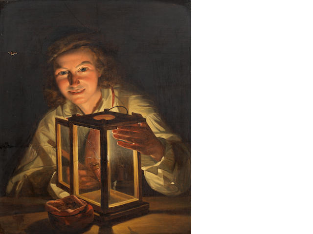 Attributed to Ferdinand Georg Waldmüller (Austrian, 1793-1865) Boy with a stable lantern