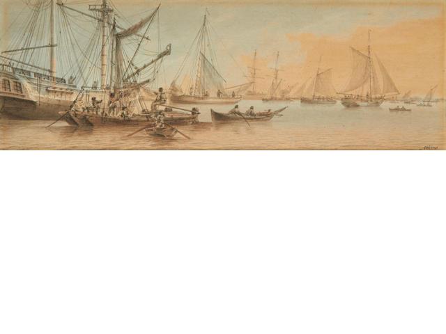 Samuel Atkins (British, fl.1787-1808) Shipping in calm waters