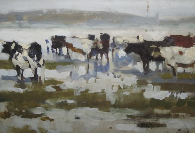Frank Richards (British, 1863-1935) Cows in a landscape 25cm x 35cm,