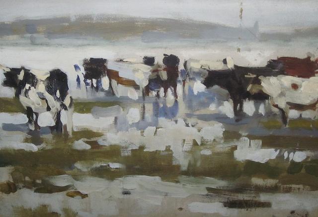Frank Richards (British, 1863-1935) Cows in a landscape 25cm x 35cm,