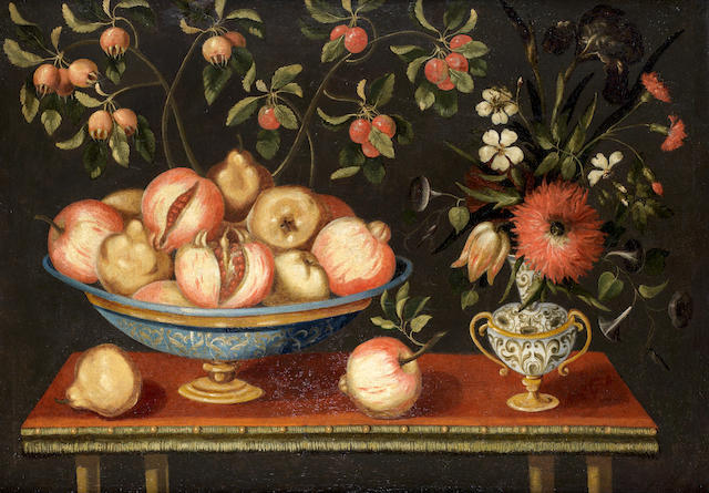 School of  Madrid, circa 1700 Lemons and pomegranates in a maiolica tazza, with jasmine and  tulips in a maiolica albarello and other fruits and flowers on a table top; and Pears and apples in a maiolica tazza,   (2).