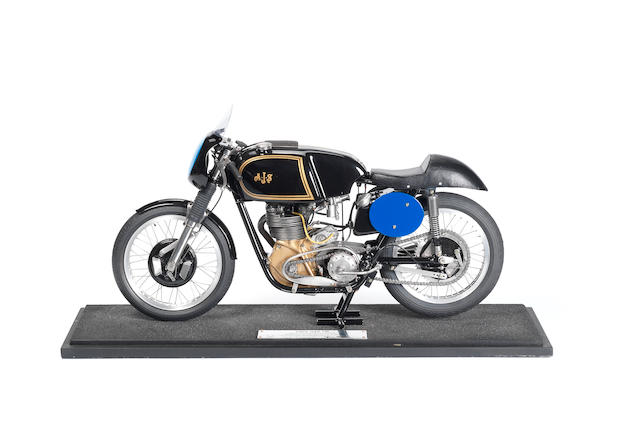 A fine scratch-built 1:4 scale model of a 1962 AJS-7R motorcycle, by Glen English,