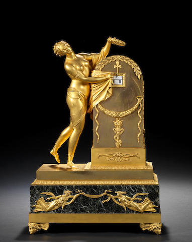 An early 19th century French ormolu and marble figural annular dial clock 'Oubli du temps' LS ??? look up