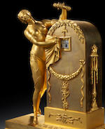 An early 19th century French ormolu and marble figural annular dial clock 'l'oubli du temps' Claude Galle and Lesuier