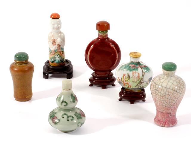 Six porcelain snuff bottles and stoppers,
