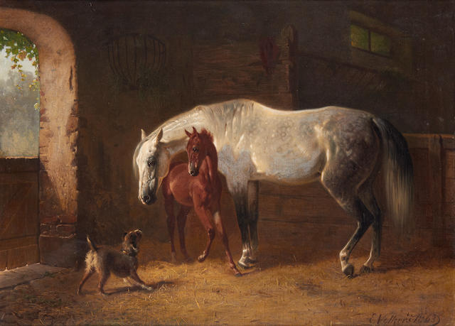 Emil Volkers (German, 1831-1905) A grey and foal with a dog in a stable