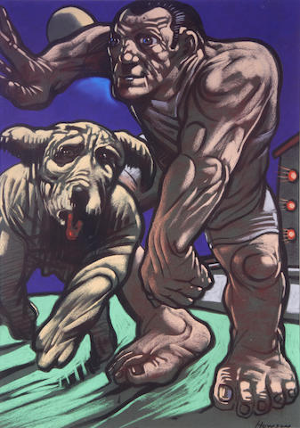 Peter Howson (British, born 1958) Man and his dog