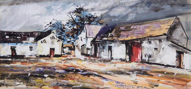 Kenneth Webb (Irish, born 1927) Farm buildings