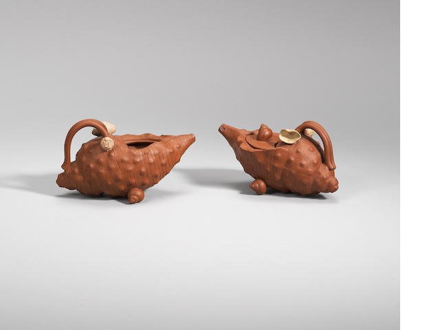 A pair of Yixing stoneware 'conch' teapots and cover Mid Qing dynasty