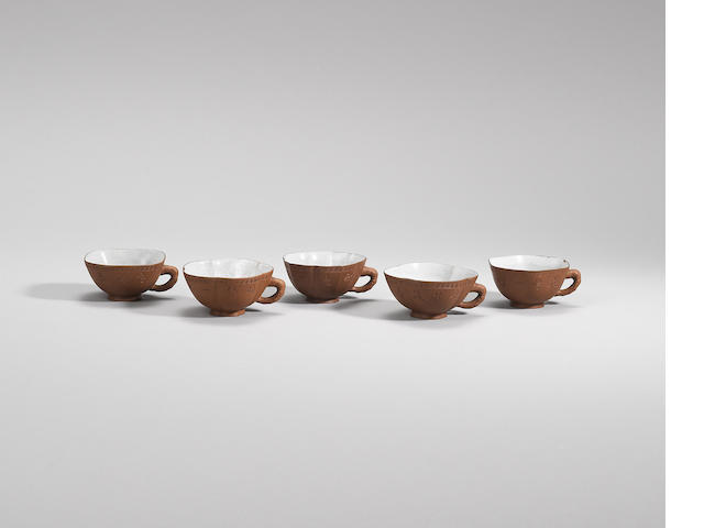 Five incised Yixing stoneware teacups Qing dynasty