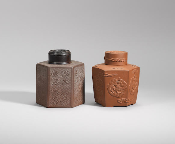 Two Yixing stoneware hexagonal tea canisters Qing dynasty