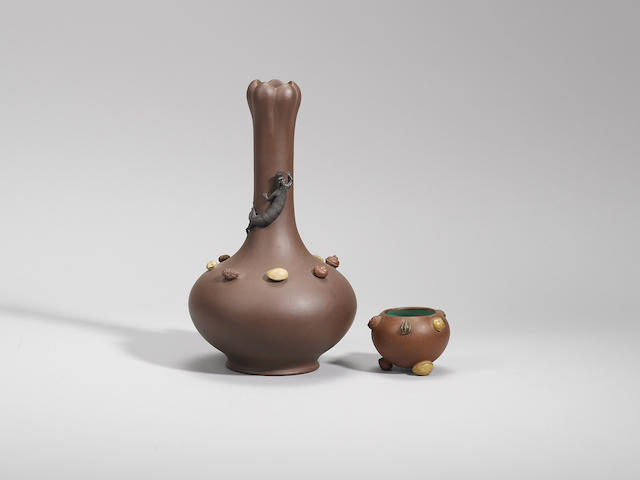 A Yixing stoneware 'fruits' vase and a small 'nuts' waterpot Late Qing dynasty / early Republican period