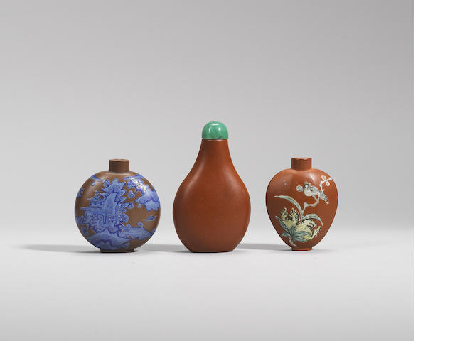Three Yixing stoneware snuff bottles Qing dynasty