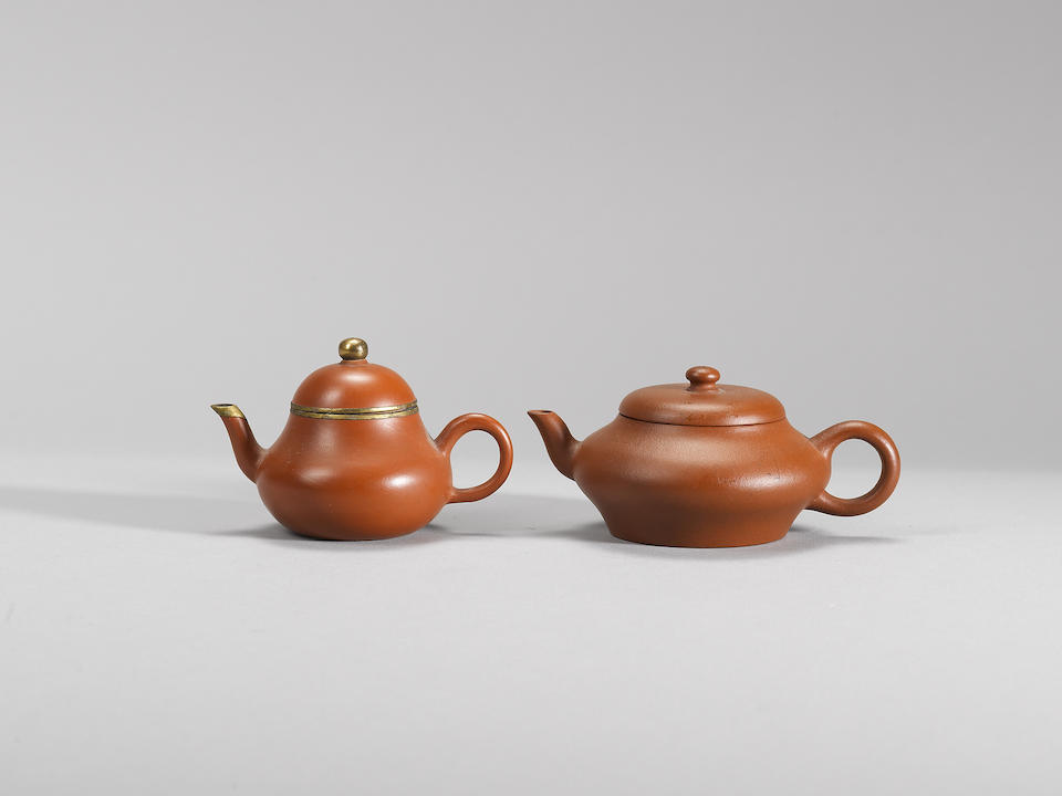 Two small Yixing stoneware 'yigong' teapots and covers Qing dynasty