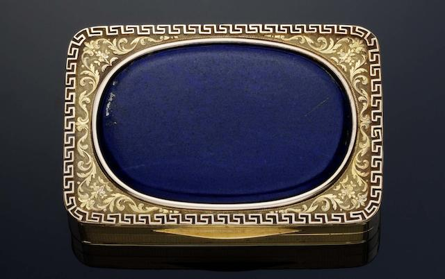 An early 19th century gold Royal Presentation box By A J Strachan, London 1805